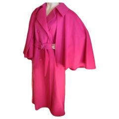 Yves Saint Laurent Vintage Fucia Wool coat with Detachable Cape