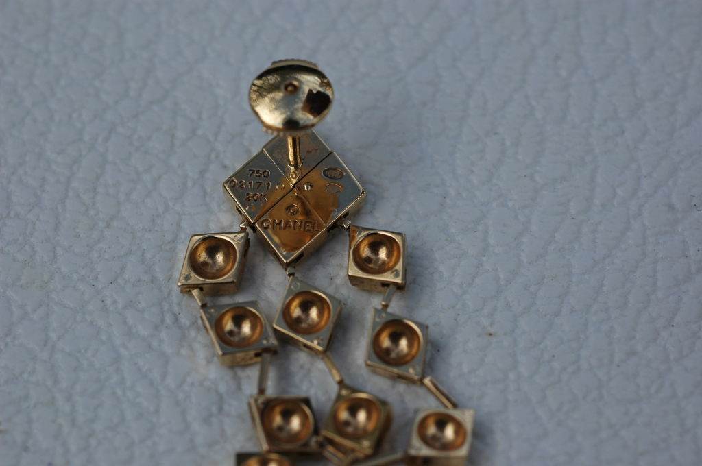 Chanel Metalesse Collection 18 Kt Gold Earrings 3