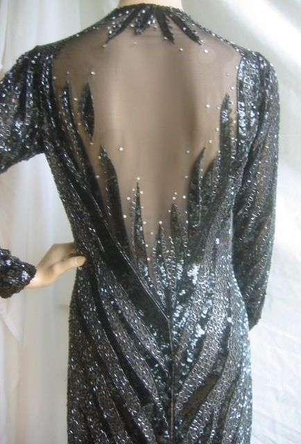 Stunning Beaded Vintage Low Cut Gown From Bob Mackie W