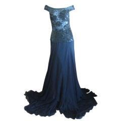 Valentino Elegant Sheer Sequin Silk Evening Gown 90's
