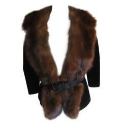 Don Loper Delightful Sable trimmed black velvet jacket
