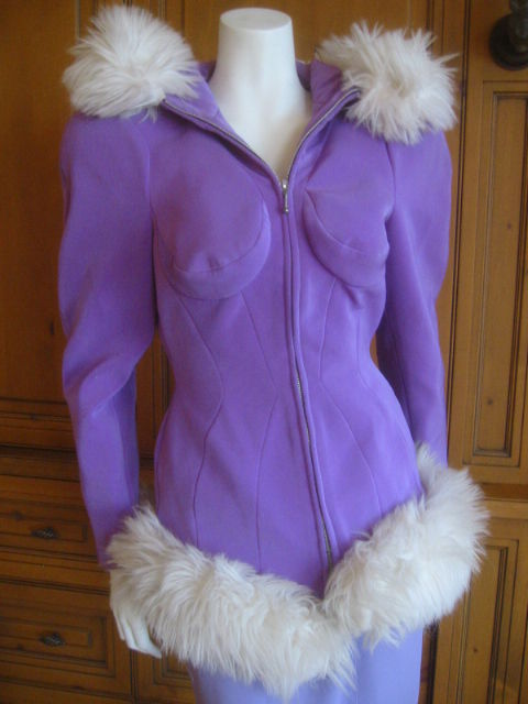 Thierry Mugler Rockin Ski Jacket w Faux Fur Hood and Trim 3