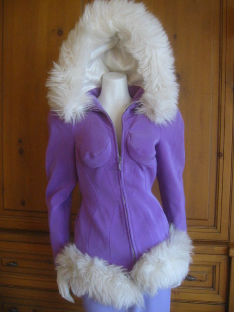 Thierry Mugler Rockin Ski Jacket w Faux Fur Hood and Trim 9