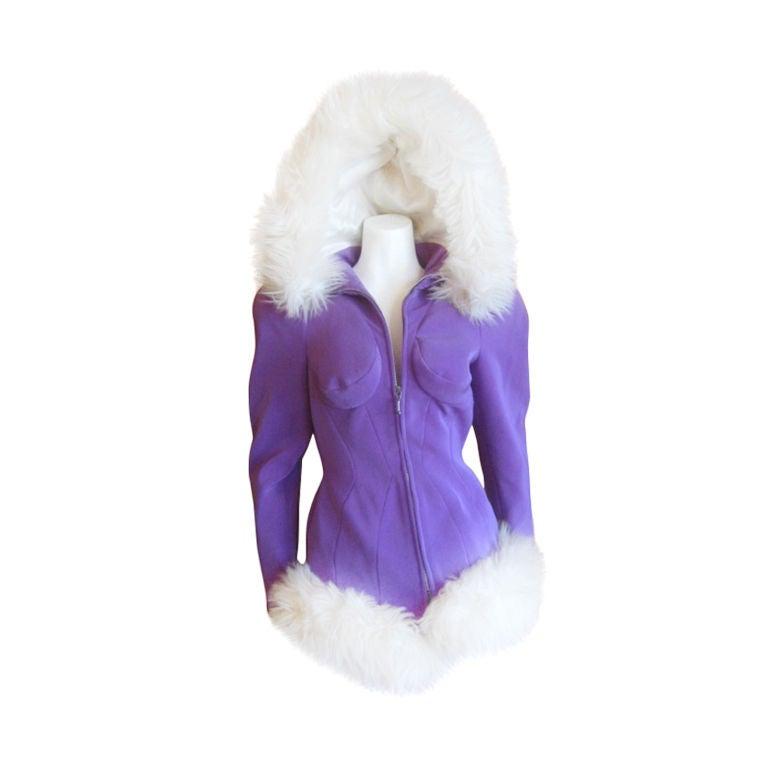 Thierry Mugler Rockin Ski Jacket w Faux Fur Hood and Trim 1