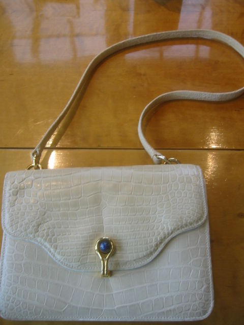 Gucci Vintage Alligator Bag With Lapis Clasp At 1stdibs