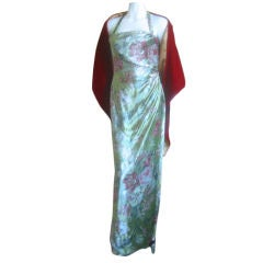 Bill BLass Vintage Floral Velvet gown with shawl