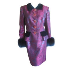Jacques Fath Wonderful Vintage Brocade suit With Fox cuffs