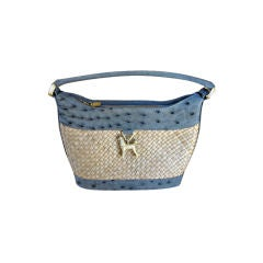 Barry Kieselstein-Cord Ostrich trimmed Straw Poodle Bag