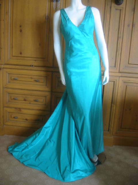 Chanel Haute Couture Green Silk Bias Cut Gown with Train 2