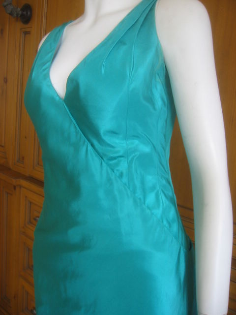 Chanel Haute Couture Green Silk Bias Cut Gown with Train 4