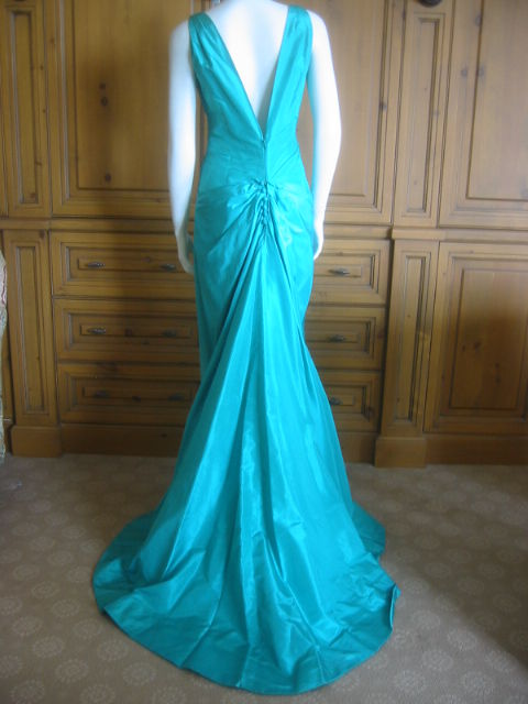 Chanel Haute Couture Green Silk Bias Cut Gown with Train 5