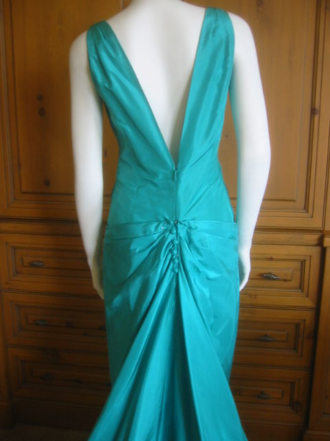 Chanel Haute Couture Green Silk Bias Cut Gown with Train 6