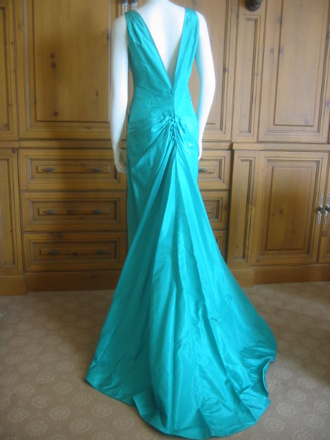 Chanel Haute Couture Green Silk Bias Cut Gown with Train 7