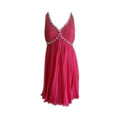 Malcom Starr Vintage pleated Red Chiffon Dress with Crystal Trim