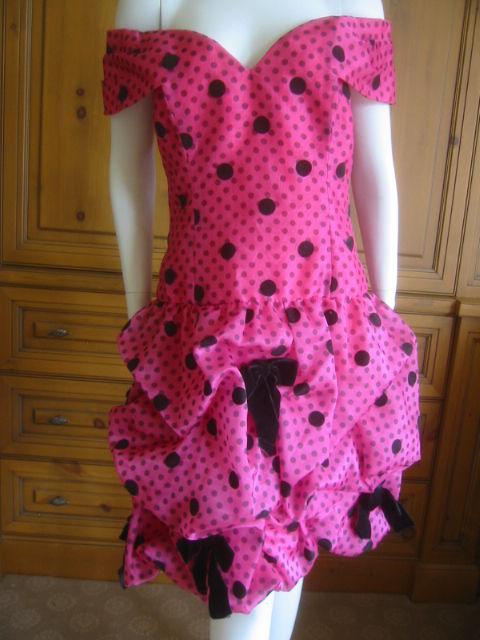 Arnold Scaasi Polka Dot Off the shoulder cocktail dress sz 8 6