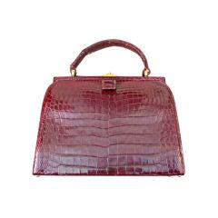 Lucille de Paris Alligator Dr's Satchel Bag Burgundy