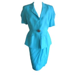 Theirry Mugler blue linen suit with space age butto 38