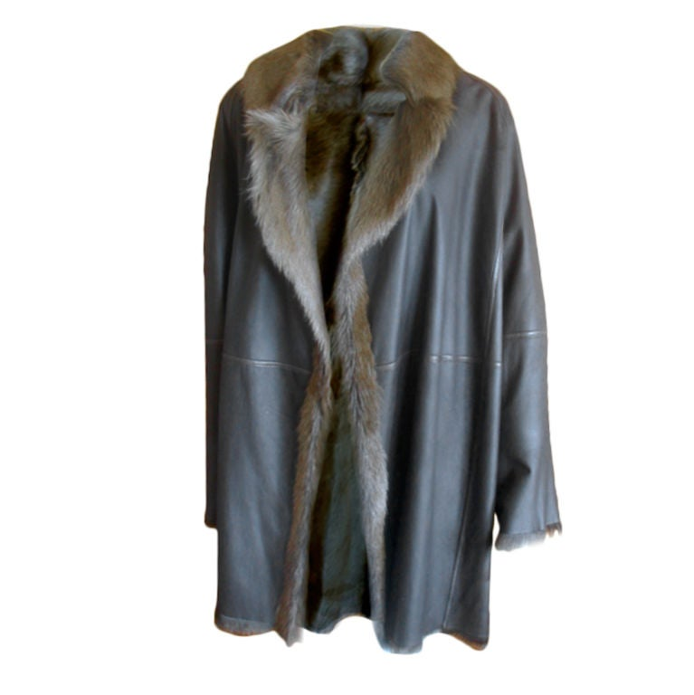 Hermes Margiela reversable leather to fur jacket 1