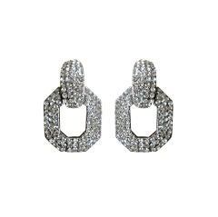 Jay Feinberg 1980's Oscar runway doorknocker crystal earrings