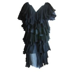 Chloe vintage romantic black ruffle tier dress
