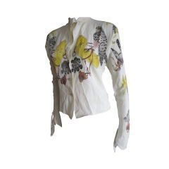 """Tina Leser hand painted beaded """"Falconry"""" top"""