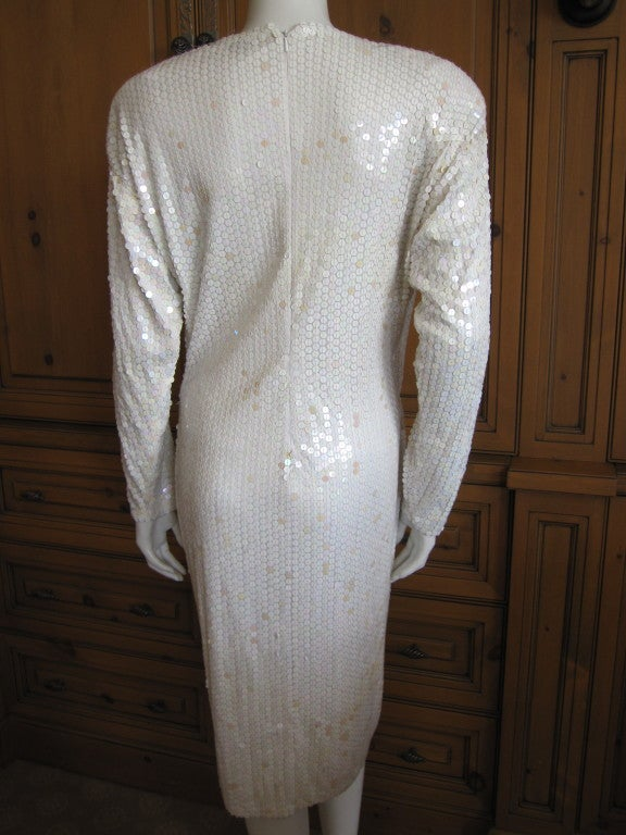 Oleg Cassini sequin disco era dress 6