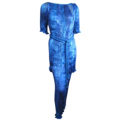 Patricia Lester fortuny pleated three piece beaded evening dress