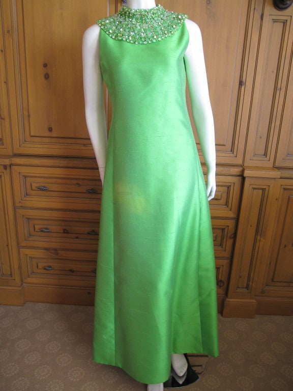 1960's Green Silk dress with wide jeweled collar 2