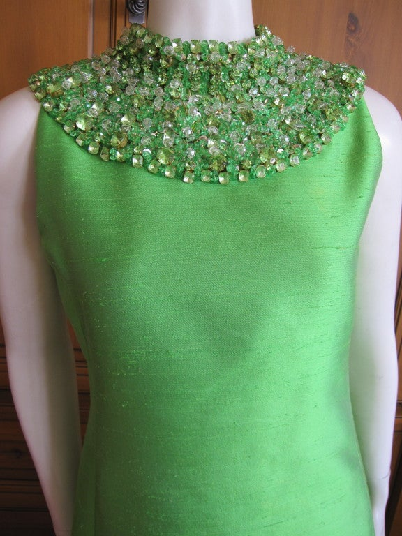 1960's Green Silk dress with wide jeweled collar 3