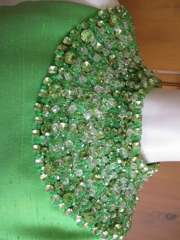 1960's Green Silk dress with wide jeweled collar 4
