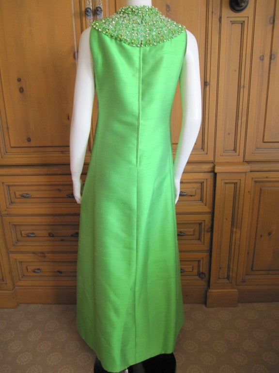 1960's Green Silk dress with wide jeweled collar 5