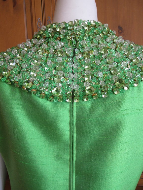 1960's Green Silk dress with wide jeweled collar 6