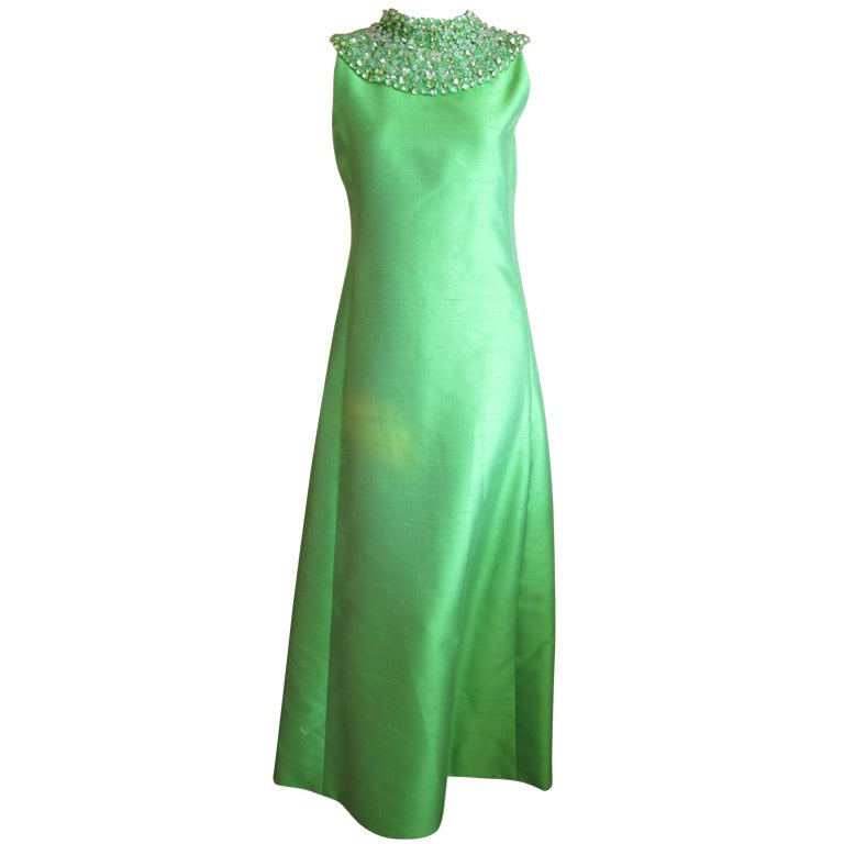 1960's Green Silk dress with wide jeweled collar 1