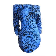 Arnold Scaasi animal print silk off the shoulder dress
