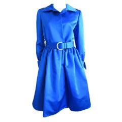 Bill Blass Silk Yves Klein Blue dress with jewel belt