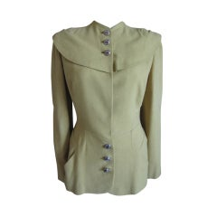 Adrian 1940s cape-back chartreuse jacket
