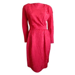 Carolyne Roehm elegant red silk dress