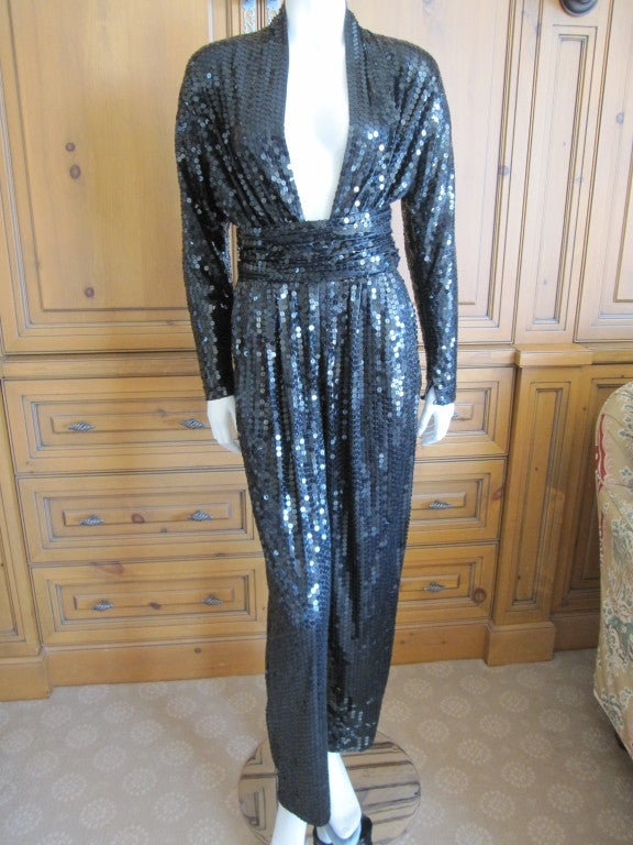 Cool 1970s Jumpsuit / Womens Jumpsuit / Black And White Disco