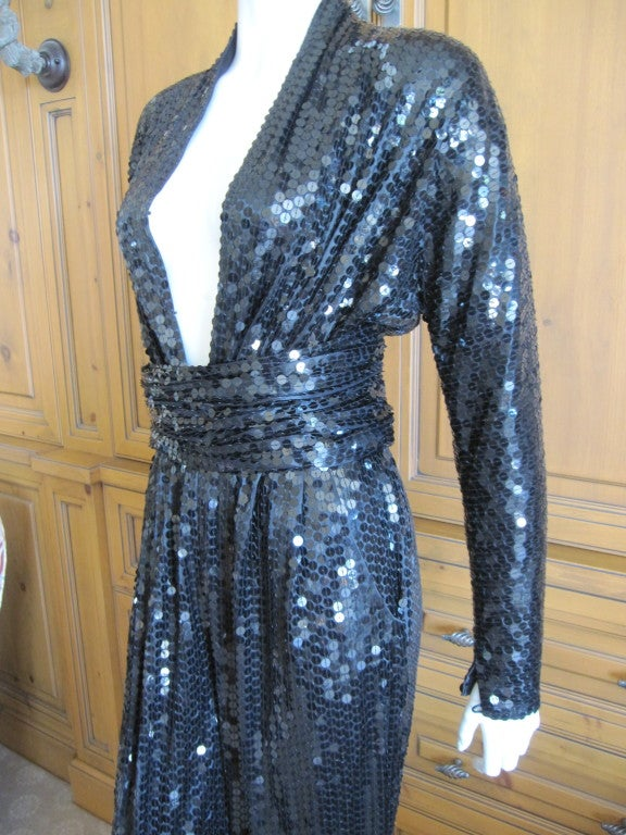 Halston 1970's disco era sexy sequin jumpsuit with belt at ...