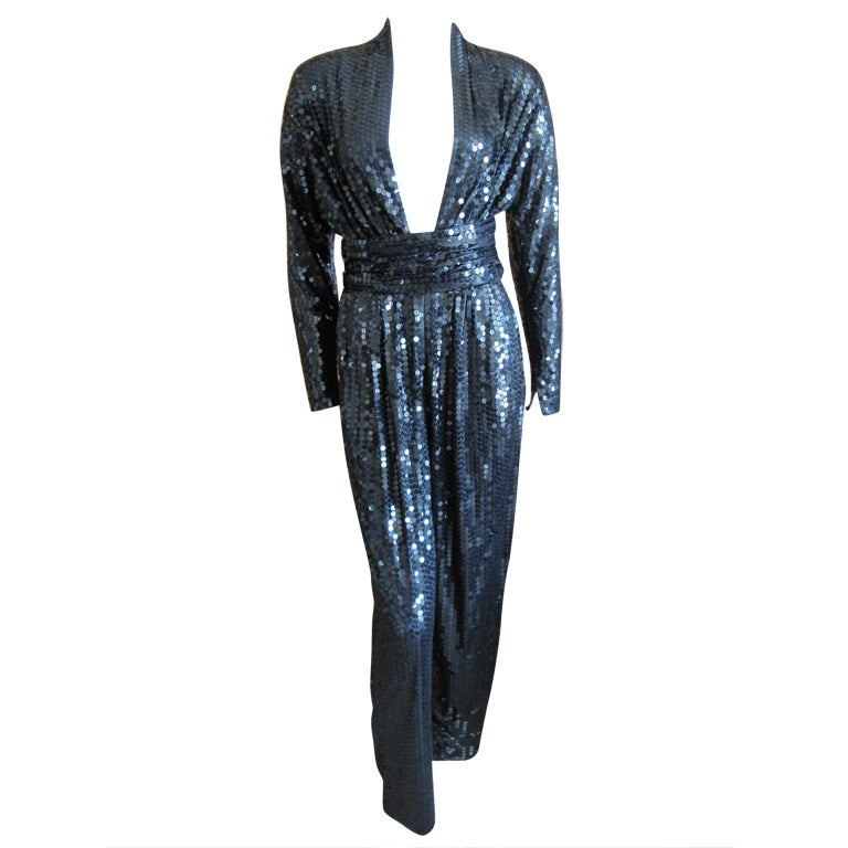 Halston 1970 S Disco Era Sexy Sequin Jumpsuit With Belt At