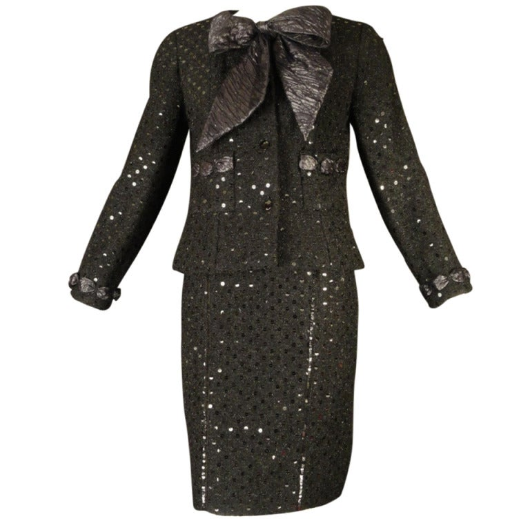 1980s Chanel Black Metallic Boucle And Sequin Cocktail