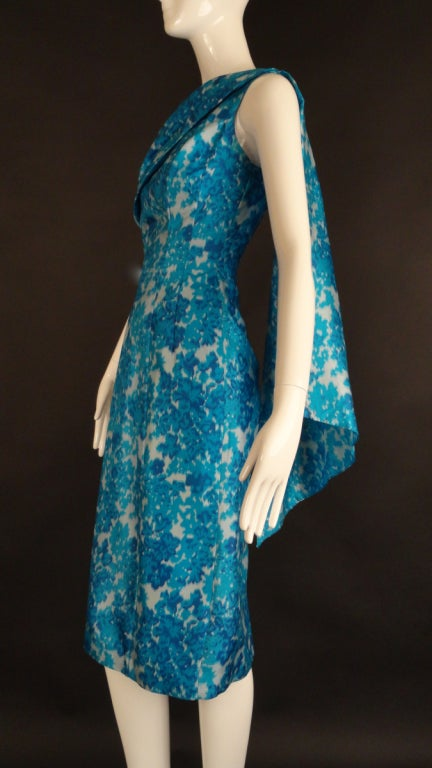 1950s Turquoise Silk Sheath Dress At 1stdibs