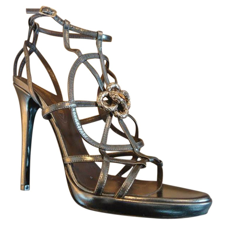 Roberto Cavalli Laminate Grey Kidskin Leather Sandal Size 39(It) 1