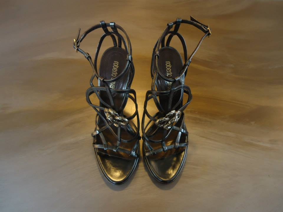 Roberto Cavalli Laminate Grey Kidskin Leather Sandal Size 39(It) 2