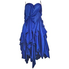 Giuseppe Papini Blue Electric Silk Dress Size 44 (It)