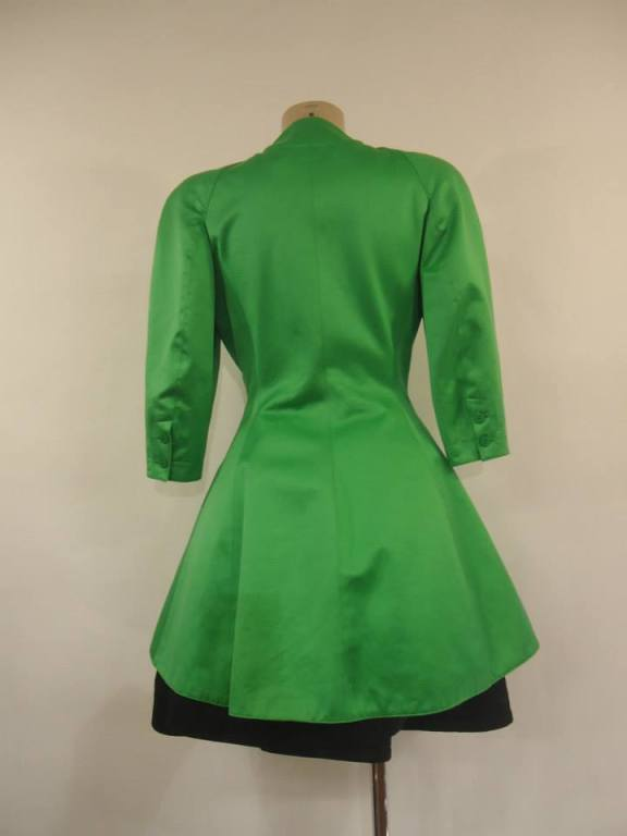 1980s Claude Montana Paris Green Overcoat and Black Dress Outfit 2