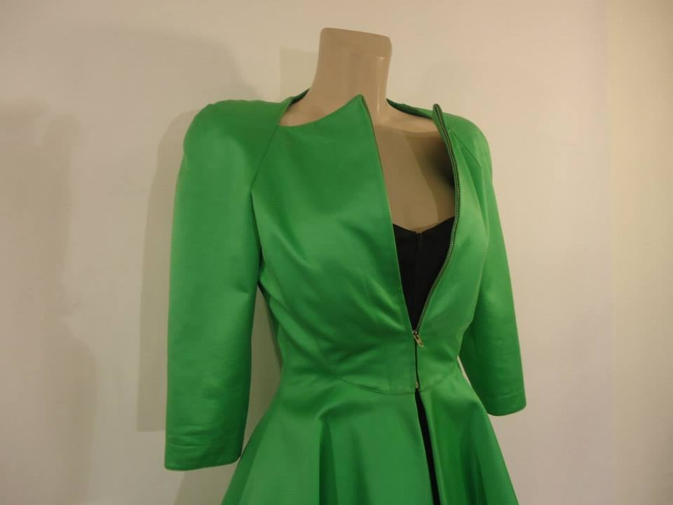 1980s Claude Montana Paris Green Overcoat and Black Dress Outfit 3