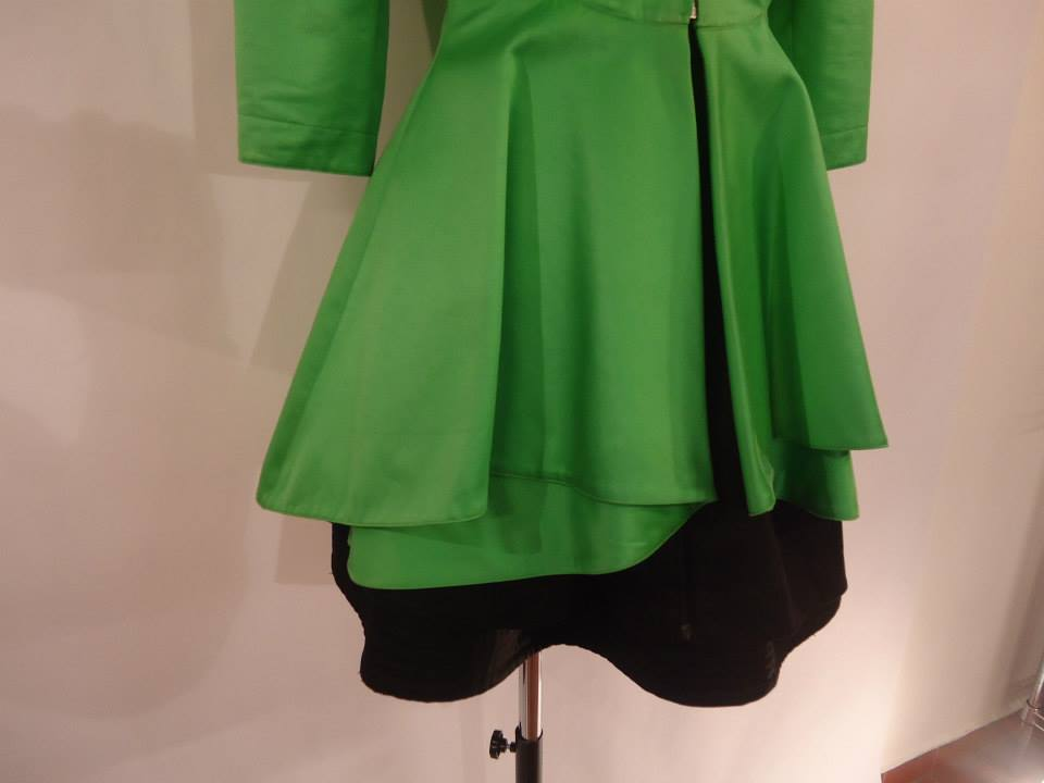 1980s Claude Montana Paris Green Overcoat and Black Dress Outfit 4