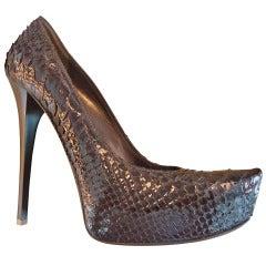 Gianmarco Lorenzi Brown Python Leather Décolleté Size 39 (It)