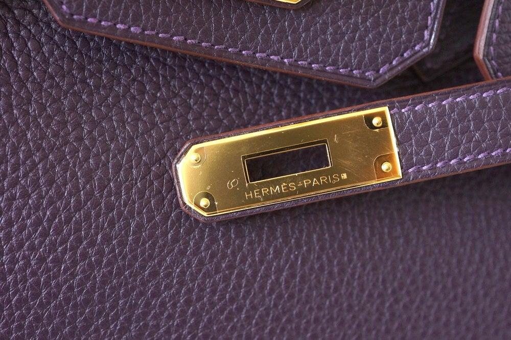 Black Hermes Birkin 30 Bag Rich Raisin Gold Hardware Original Colour Togo  For Sale